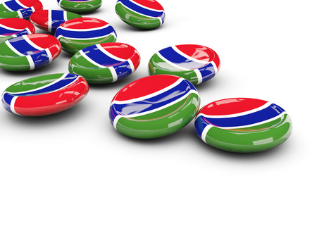 gambia: Flag of gambia, round buttons on white. 3D illustration