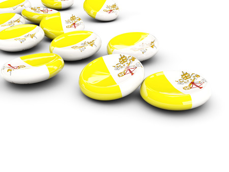 Flag of vatican city, round buttons on white. 3D illustration Stock Photo
