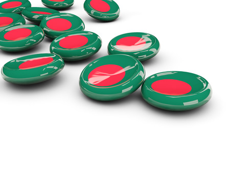 Flag of bangladesh, round buttons on white. 3D illustration Stock Photo