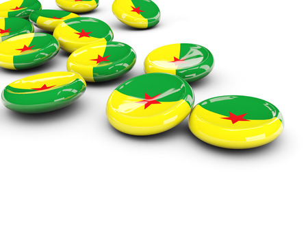 Flag of french guiana, round buttons on white. 3D illustration