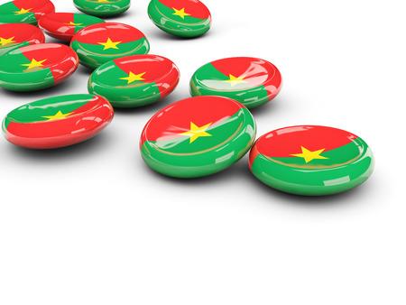 Flag of burkina faso, round buttons on white. 3D illustration Stock Photo