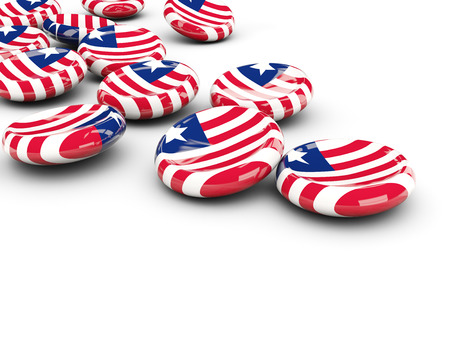 Flag of liberia, round buttons on white. 3D illustration Stock Photo