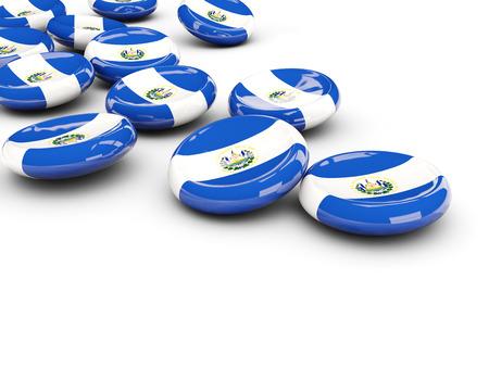 bandera de el salvador: Bandera de El Salvador, botones redondos en blanco. ilustración 3D