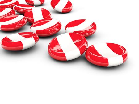 bandera de peru: Bandera de Perú, botones redondos en blanco. ilustración 3D
