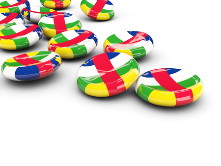 Flag of central african republic, round buttons on white. 3D illustration Stock Photo