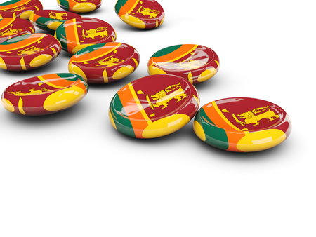 Flag of sri lanka, round buttons on white. 3D illustration Stock Photo