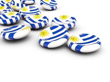 bandera de uruguay: Bandera de Uruguay, botones redondos en blanco. ilustración 3D