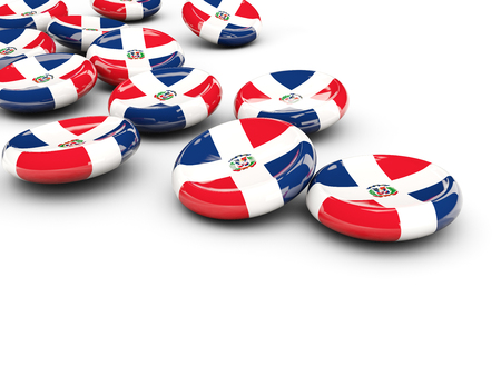 dominican republic: Flag of dominican republic, round buttons on white. 3D illustration