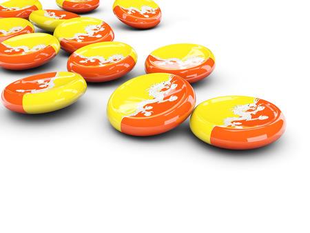 bhutan: Flag of bhutan, round buttons on white. 3D illustration Stock Photo