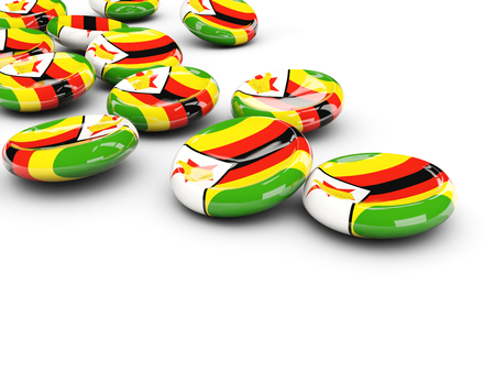 Flag of zimbabwe, round buttons on white. 3D illustration