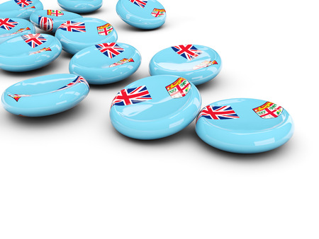 fiji: Flag of fiji, round buttons on white. 3D illustration