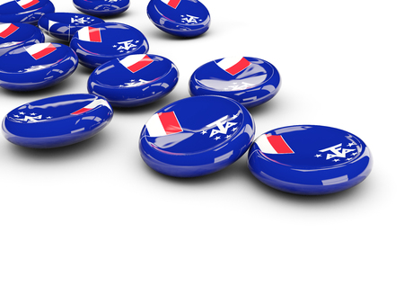 territories: Flag of french southern territories, round buttons on white. 3D illustration