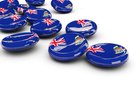 cayman: Flag of cayman islands, round buttons on white. 3D illustration