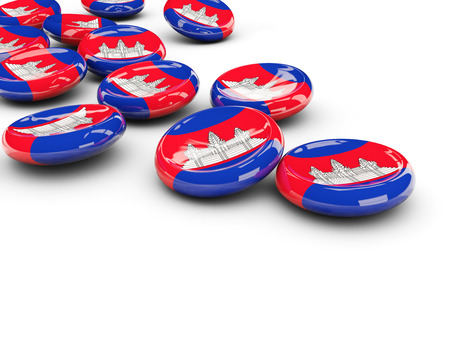 Flag of cambodia, round buttons on white. 3D illustration