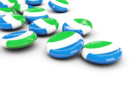 Flag of sierra leone, round buttons on white. 3D illustration Stock Photo