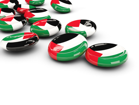 palestinian: Flag of palestinian territory, round buttons on white. 3D illustration Stock Photo