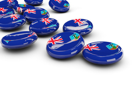 montserrat: Flag of montserrat, round buttons on white. 3D illustration Stock Photo