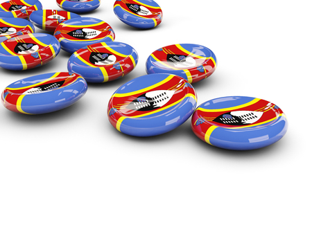 Flag of swaziland, round buttons on white. 3D illustration