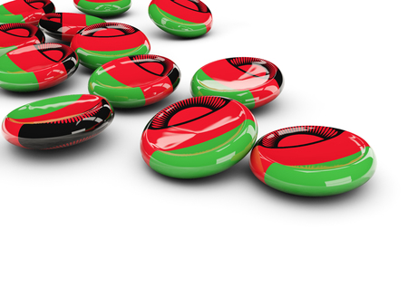 Flag of malawi, round buttons on white. 3D illustration