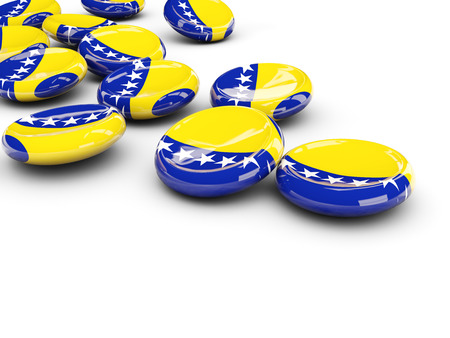 Flag of bosnia and herzegovina, round buttons on white. 3D illustration