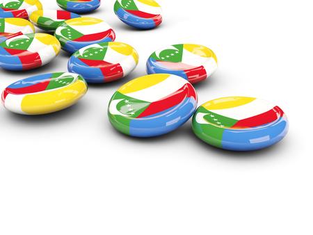 Flag of comoros, round buttons on white. 3D illustration Stock Photo