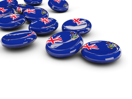 Flag of south georgia and the south sandwich islands, round buttons on white. 3D illustration