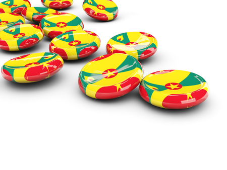 Flag of grenada, round buttons on white. 3D illustration