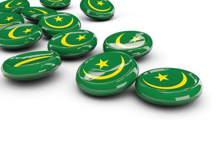mauritania: Flag of mauritania, round buttons on white. 3D illustration