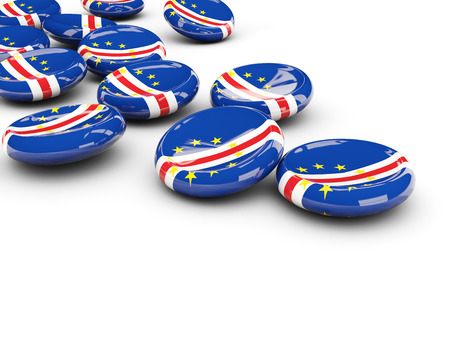 Flag of cape verde, round buttons on white. 3D illustration