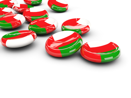 oman: Flag of oman, round buttons on white. 3D illustration Stock Photo