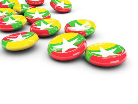 myanmar: Flag of myanmar, round buttons on white. 3D illustration