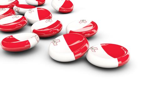 malta: Flag of malta, round buttons on white. 3D illustration Stock Photo