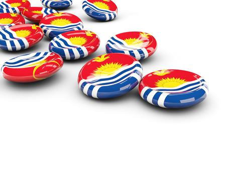 Flag of kiribati, round buttons on white. 3D illustration