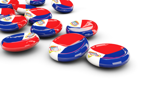 Flag of sint maarten, round buttons on white. 3D illustration