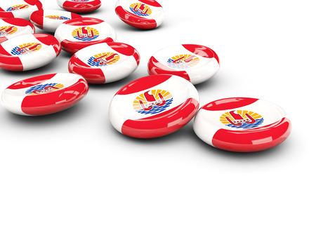 polynesia: Flag of french polynesia, round buttons on white. 3D illustration