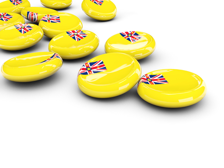 niue: Flag of niue, round buttons on white. 3D illustration