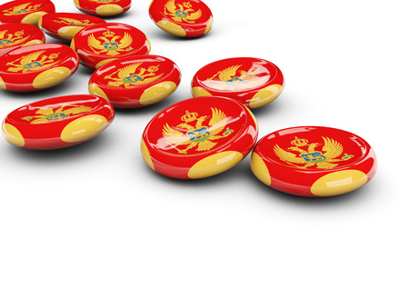 Flag of montenegro, round buttons on white. 3D illustration