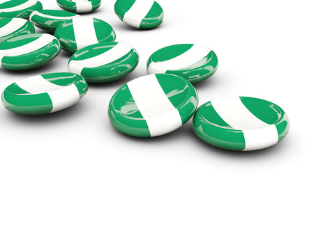 Flag of nigeria, round buttons on white. 3D illustration