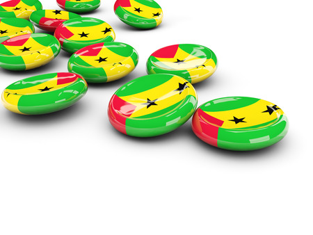 Flag of sao tome and principe, round buttons on white. 3D illustration Stock Photo