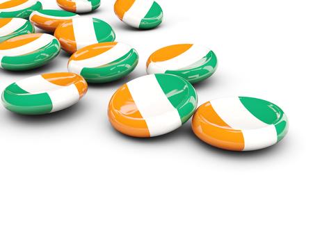 cote d ivoire: Flag of cote d Ivoire, round buttons on white. 3D illustration