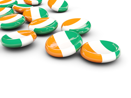 Flag of cote d Ivoire, round buttons on white. 3D illustration