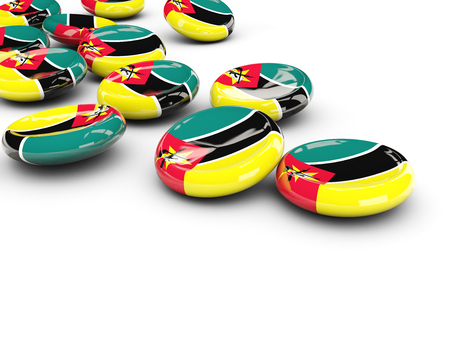Flag of mozambique, round buttons on white. 3D illustration Stock Photo