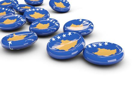 Flag of kosovo, round buttons on white. 3D illustration Stock Photo
