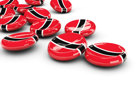national flag trinidad and tobago: Flag of trinidad and tobago, round buttons on white. 3D illustration