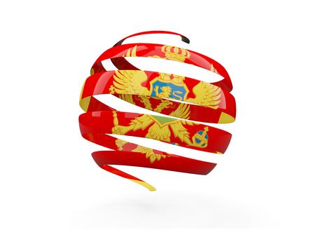 Flag of montenegro, round icon isolated on white. 3D illustration