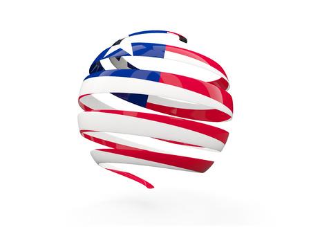 liberia: Flag of liberia, round icon isolated on white. 3D illustration Stock Photo
