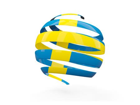 bandera de suecia: Flag of sweden, round icon isolated on white. 3D illustration Foto de archivo