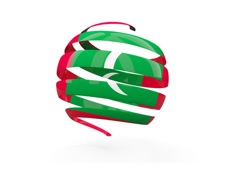 Flag of maldives, round icon isolated on white. 3D illustration Stock Photo