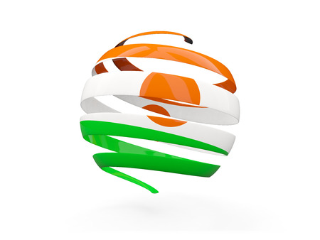 niger: Flag of niger, round icon isolated on white. 3D illustration