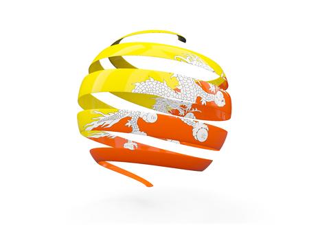bhutan: Flag of bhutan, round icon isolated on white. 3D illustration